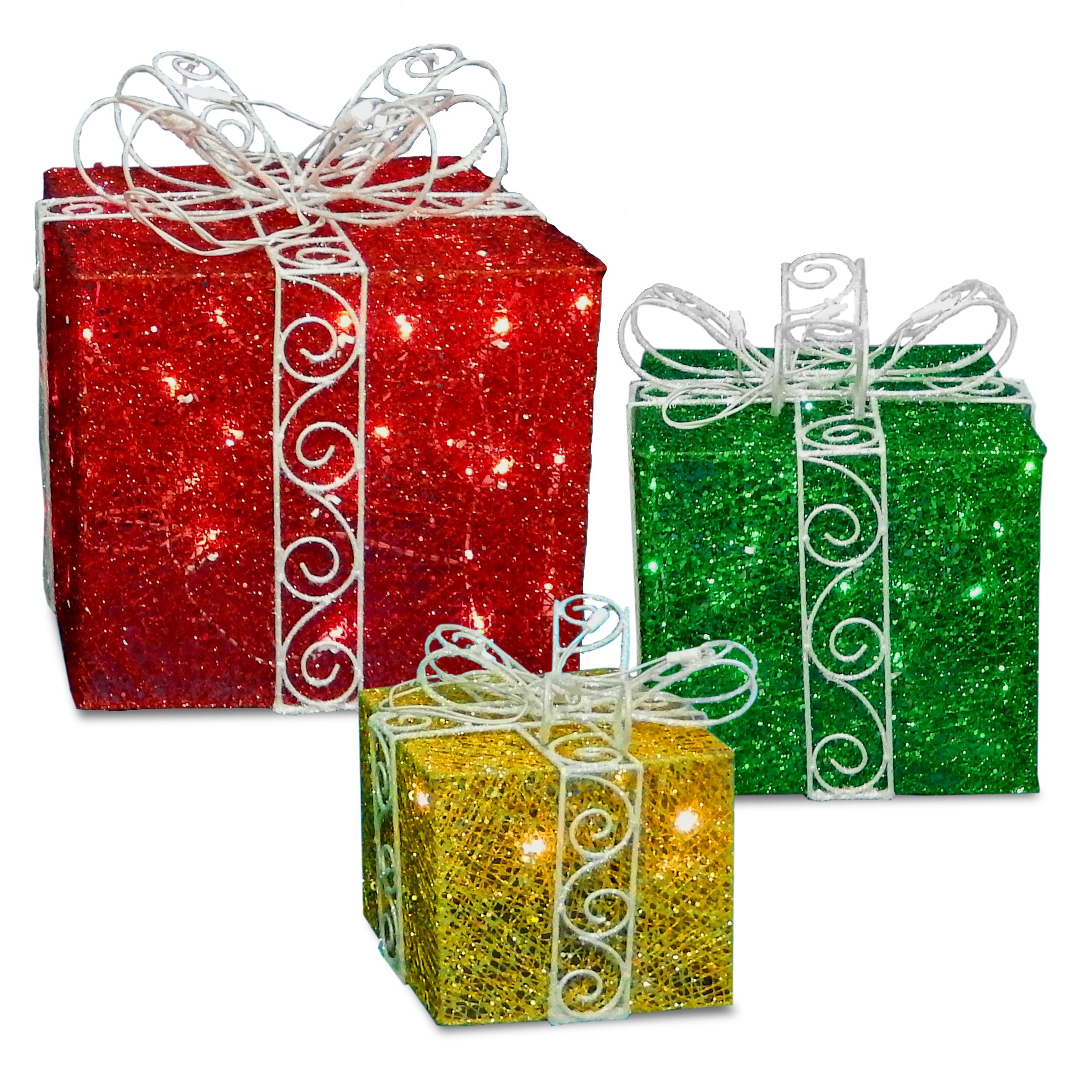 National Tree Pre Lit Sisal Gift Box Assortment Set Of 3 Size 9 12 15 Walmart Com Walmart Com