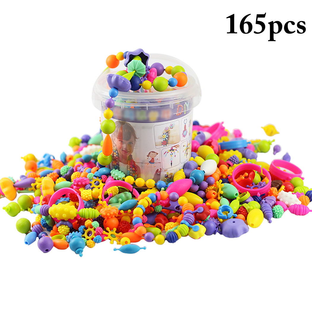 165PCS Snap Beads Creative DIY Jewelry Making Beads Toy Pop Beads for Bracelets Necklaces, Developmental Educational Toys for Children Kids Girls