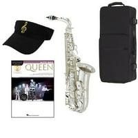Queen Silver Alto Saxophone Pack - Includes Alto Sax w/Case & Accessories, Queen Play Along Book
