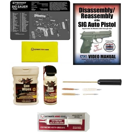 AGI DVD SIG Sauer P229 Disassembly & Reassembly + Ultimate Arms Gear  Gunsmith Gun Mat + Compact Cleaning Kit + Cleaner Spray Can + Care Cloth +  Wipes