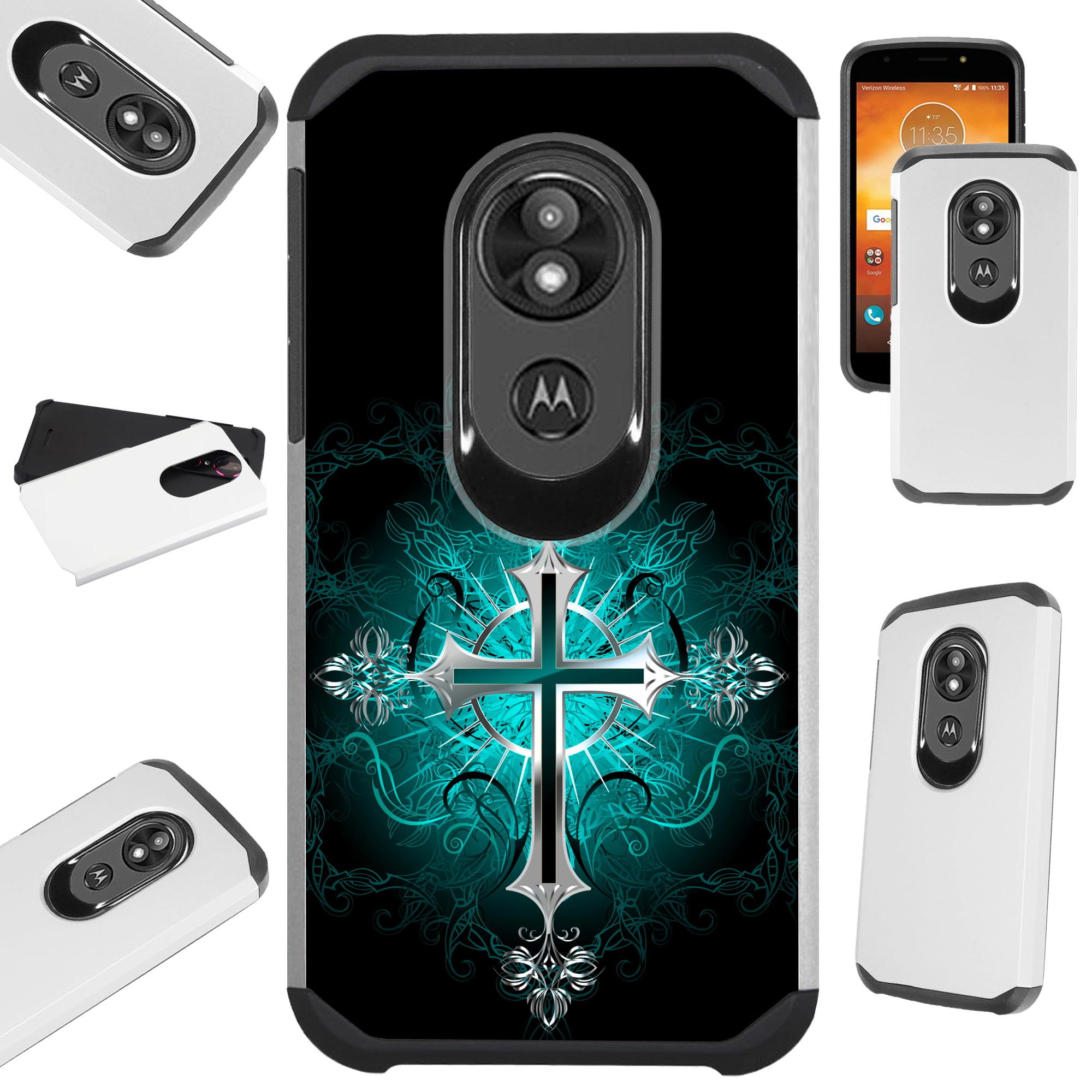 For Motorola Moto E5 Play | Moto E5 Cruise Case Hybrid TPU Fusion Phone Cover (Teal Gothic Cross)
