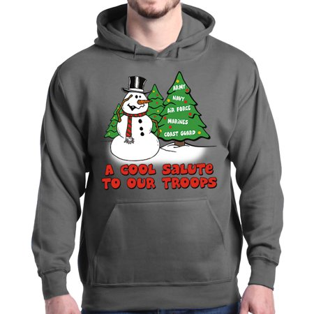 uk availability 3e9e1 4b0a4 Shop4Ever Men's A Cool Salute to Our Troops Christmas Xmas Hooded  Sweatshirt Hoodie