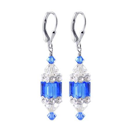Gem Avenue Sterling Silver Swarovski Elements Crystal Cube Drop Earrings