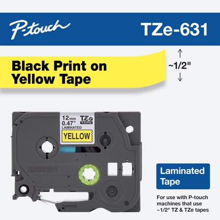 Brother P-Touch TZe Standard Adhesive Laminated Labeling Tape, 1/2