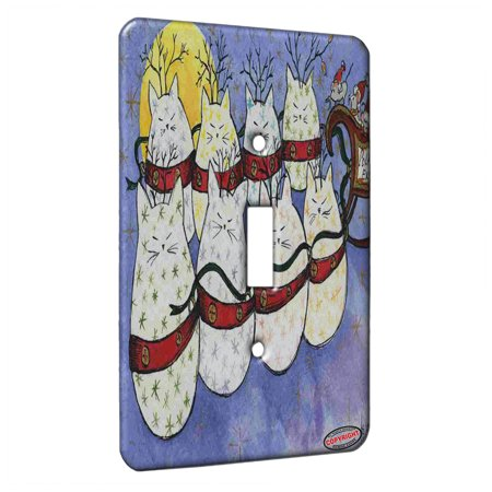 KuzmarK™ Single Gang Toggle Switch Wall Plate - Starry Kitties and Mouse Sleigh Christmas Express Cat Art by Denise Every