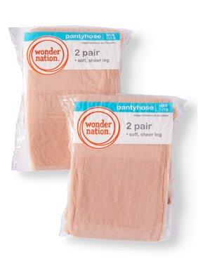 Wonder Nation Sheer Tights, 4 Pack Stockings (Little Girls & Big Girls)