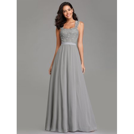 548e66257dd60 Ever-Pretty Womens Plus Size Lacey Long Evening Wedding Party Maxi Dresses  for Women 07704 Grey US18