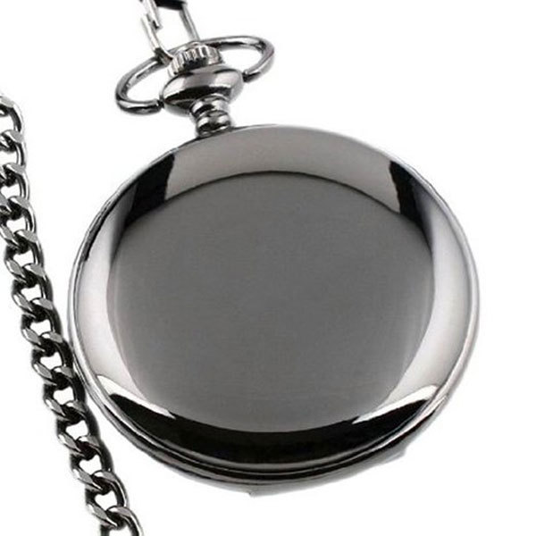 Dark Tone Pocket Watch for Men, Smooth Black Metal Mirror Face Pendant Necklace Pocket Watch for Women, Special Cool Clock Pocket Watch Gift for Boy