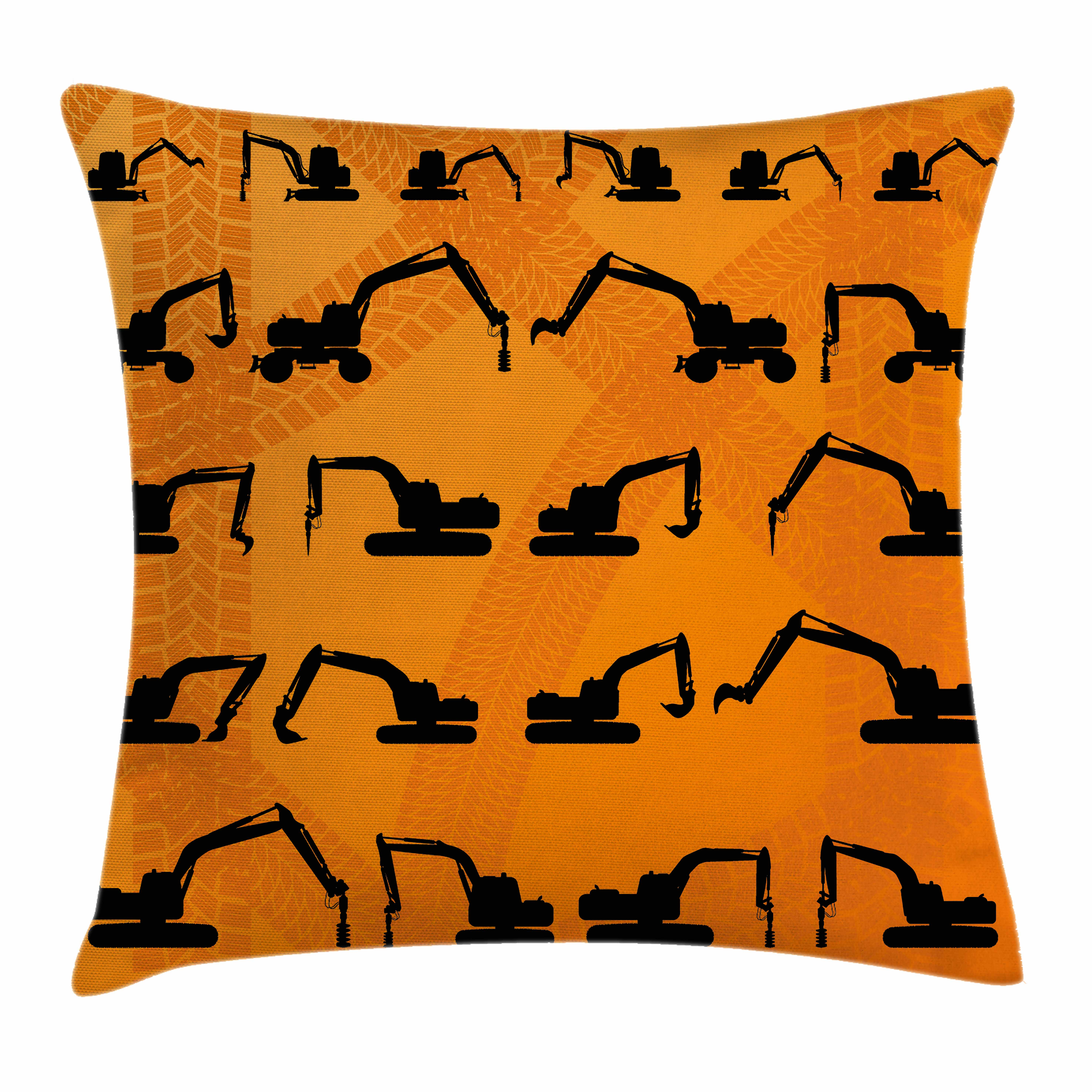 Construction Throw Pillow Cushion Cover, Excavator Black Silhouettes Tire Traces Track Machinery Industry Technology, Decorative Square Accent Pillow Case, 24 X 24 Inches, Orange Black, by Ambesonne