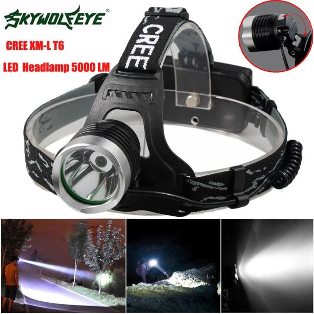 Tuscom 5000 Lm XM-L XML T6 LED Headlamp Headlight flashlight head light lamp 18650