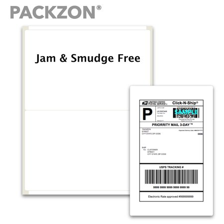 PACKZON Shipping Labels with Self Adhesive, Rounded Corner, For Laser & Inkjet Printers, 5.5 x 8.5 Inches, White Matte, Pack of 200 Labels