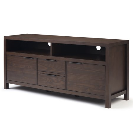 60 Inch Walnut - Brooklyn + Max Auster Solid Wood 60 inch Wide Contemporary Modern TV Media Stand in Warm Walnut Brown For TVs up to 65 inches