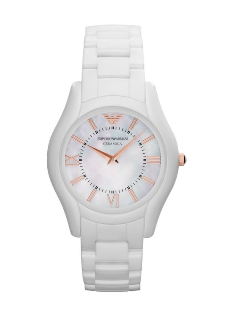 Emporio Armani AR1473 Mother of Pearl Dial White Ceramic Women's Watch $475.00