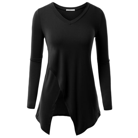 V-neck Vintage Tunic - Doublju Women's Basic V-Neck Long Sleeve Tunic Top with Crossover Hem With Plus Size BLACK XS
