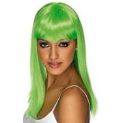 Long Neon Green Glamourama Adult Costume Wig