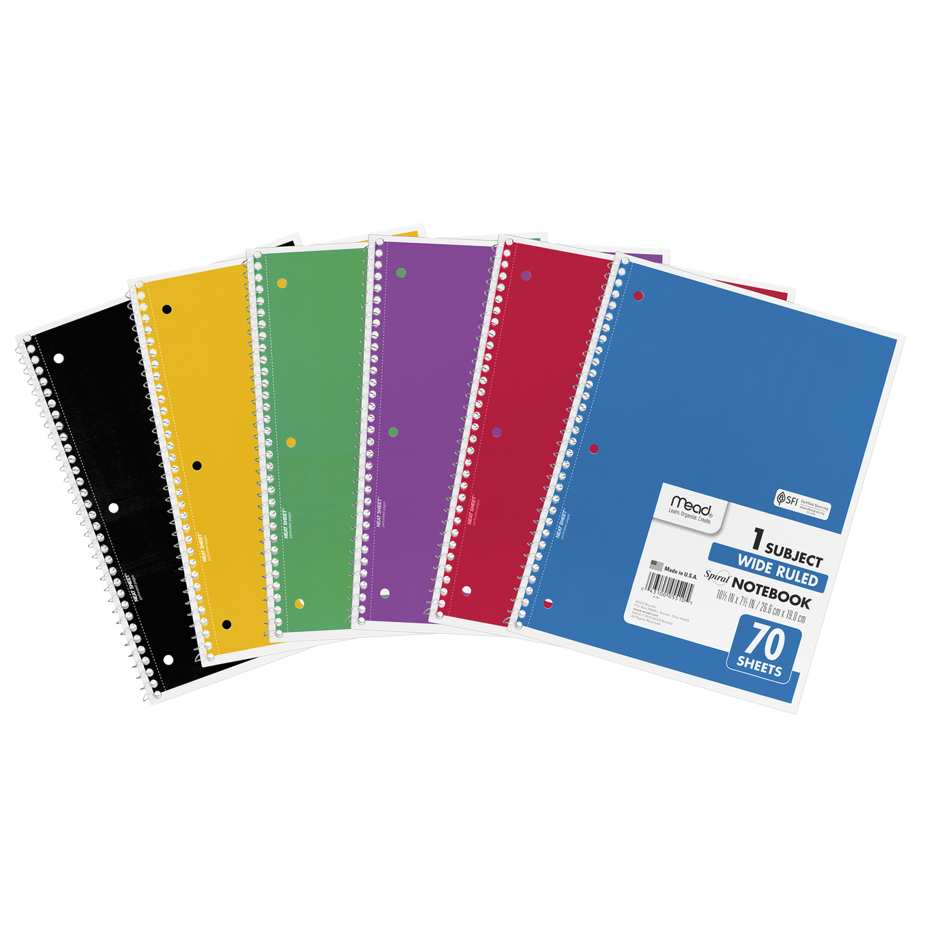 Mead Spiral Bound Notebook, Perforated, Legal Rule, 10 1 2 x 7 1 2, White, 70 SHeets by MEAD PRODUCTS