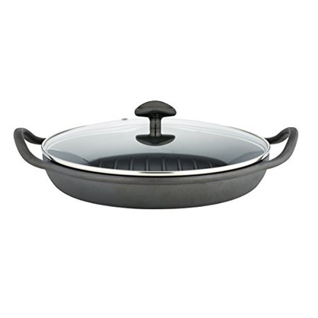 Sabatier Pre-Seasoned Rust Resistant Cast Iron Grill Pan With Glass Lid,