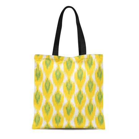 ASHLEIGH Canvas Tote Bag Aztec Yellow Green Tribal Ikat Diamond Pattern Hipster Ethnic Reusable Handbag Shoulder Grocery Shopping Bags