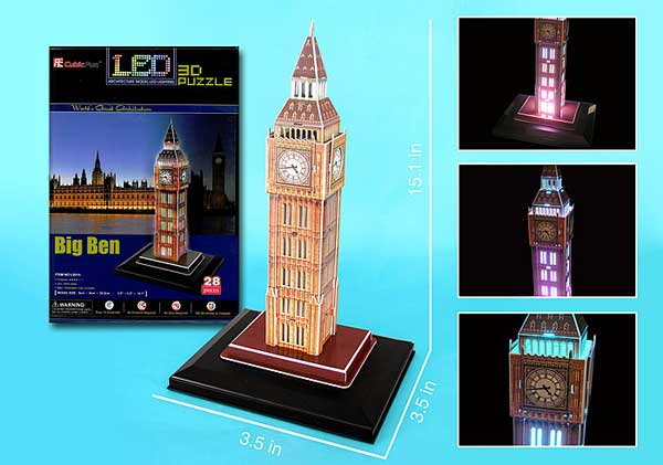 Big Ben 3D Puzzle With Base & Lights 28 Pieces by