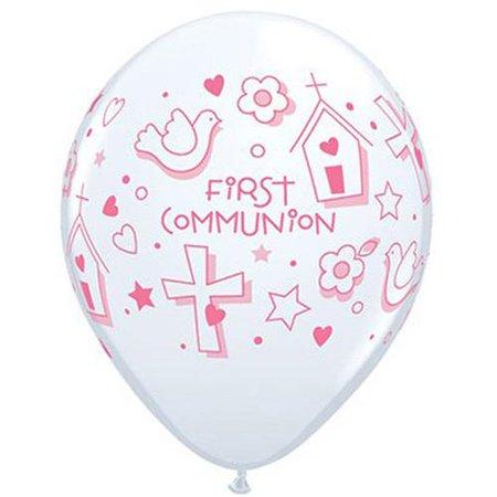 12  Pink Printed Around First Communion  Balloon 11