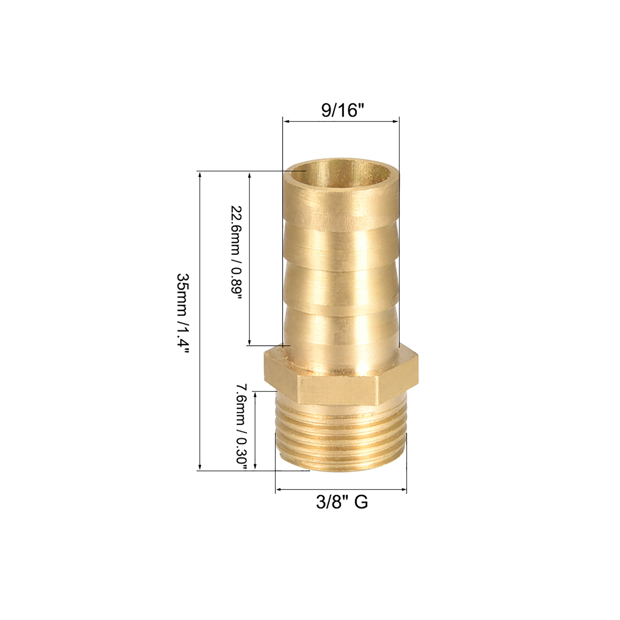 "Brass Barb Hose Fitting Connector Adapter 14mm Barbed x 3/8"" G Male Pipe 5Pcs - image 1 of 4"