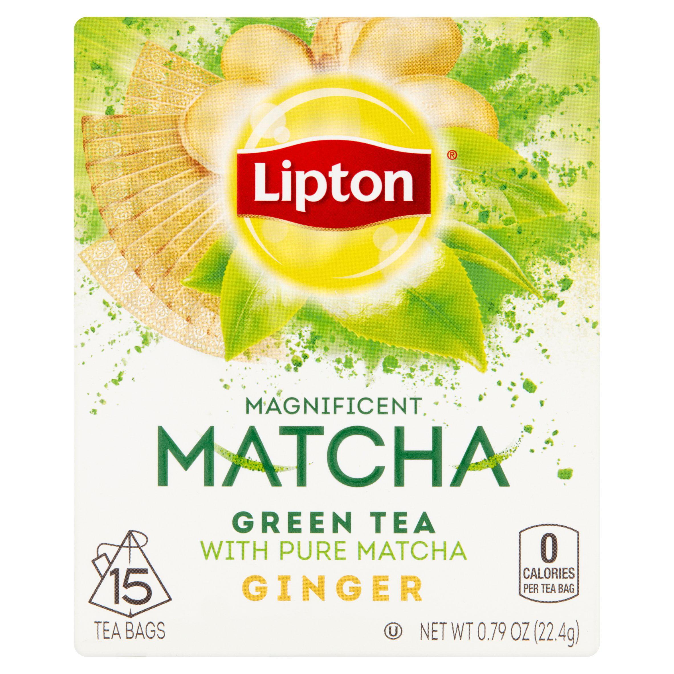 (4 Pack) Lipton Magnificent Matcha Green Tea Bags Ginger 15 ct