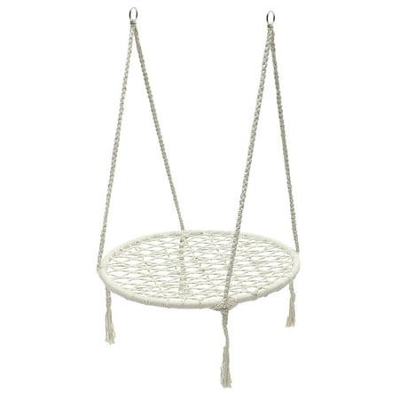 Handwoven Cotton Rope Hammock Chair Kids Indoor Outdoor Round Web Swing for Tree, Swing Set, Backyard, Playground, Playroom-220 Pound Capacity (Tree Hammock Chair)