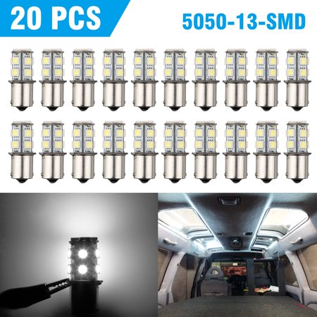 20 Pcs Extremely Super Bright 1156 1141 1003 BA15S 13-SMD LED Replacement Light Bulbs for Rear Turn Signal Lights(20-Pack, 6000K White) 13 Smd Led