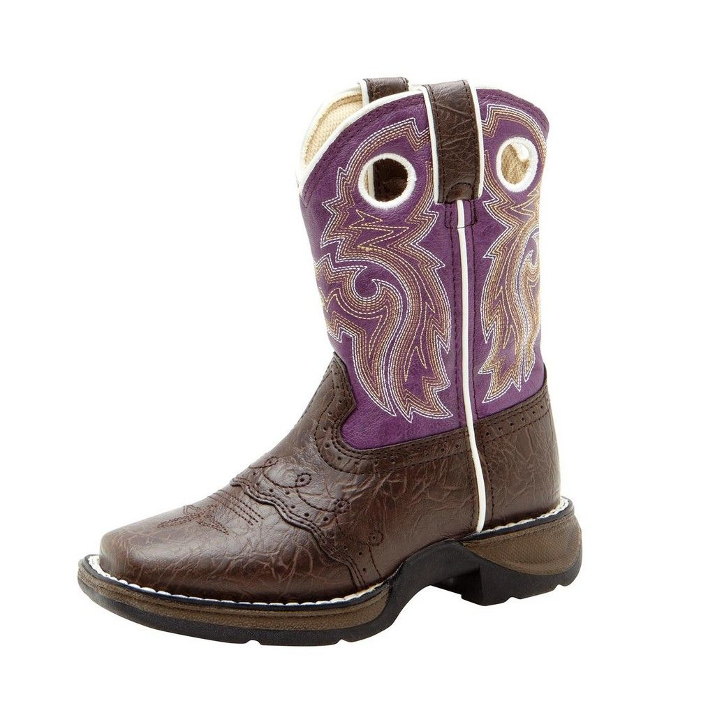 "Image of Durango Western Boot Girl 8"" Lacey Cowboy Heel Dark Brown Purple BT286"