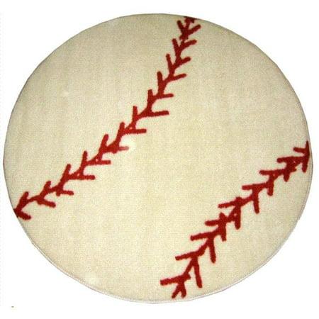 Fun Time Shape Baseball High Pile Rug - 39 Inch Round