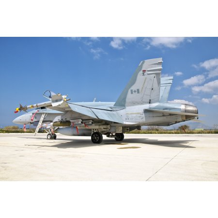 A Canadian Air Force Fa 18 Hornet Armed With Weapons Sits At Trapani Air Base Sicily Awaiting Its Next Mission Over Libya Poster Print