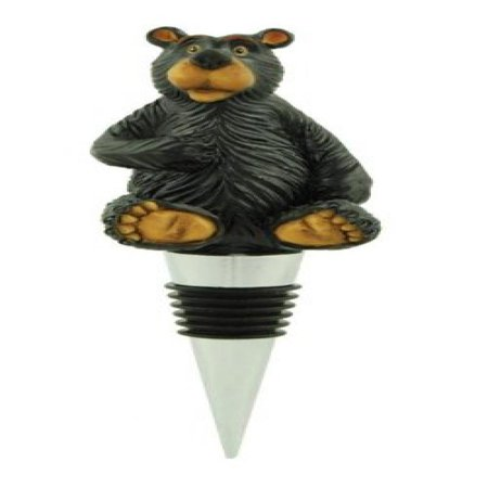 Bear Wine Stopper Bottle Topper, Lodge Decor, 5-inch (Hand Painted) (Painted Wine Bottles)