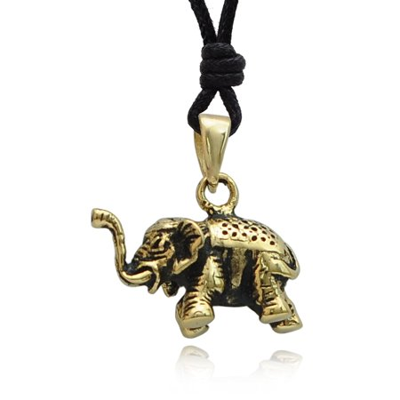Thai Elephant Handmade Brass Charm Necklace Pendant Jewelry With Cotton Cord