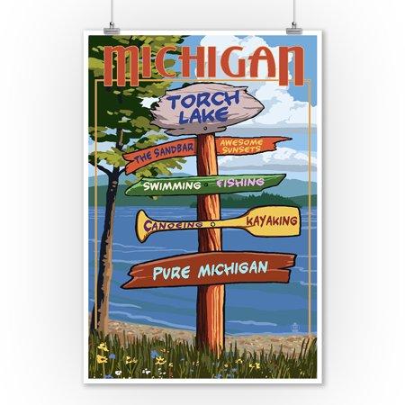 Torch Lake, Michigan - Pure Michigan - Sign Destinations - Lantern Press Artwork (9x12 Art Print, Wall Decor Travel Poster) ()