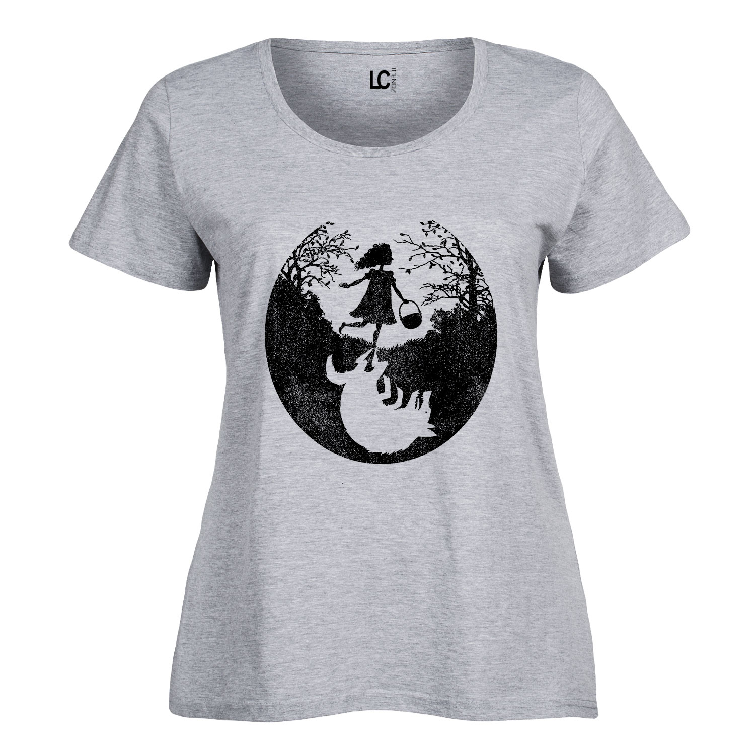 Girl and Wolf Shadow-Ladies Plus Size Scoop Neck Tee