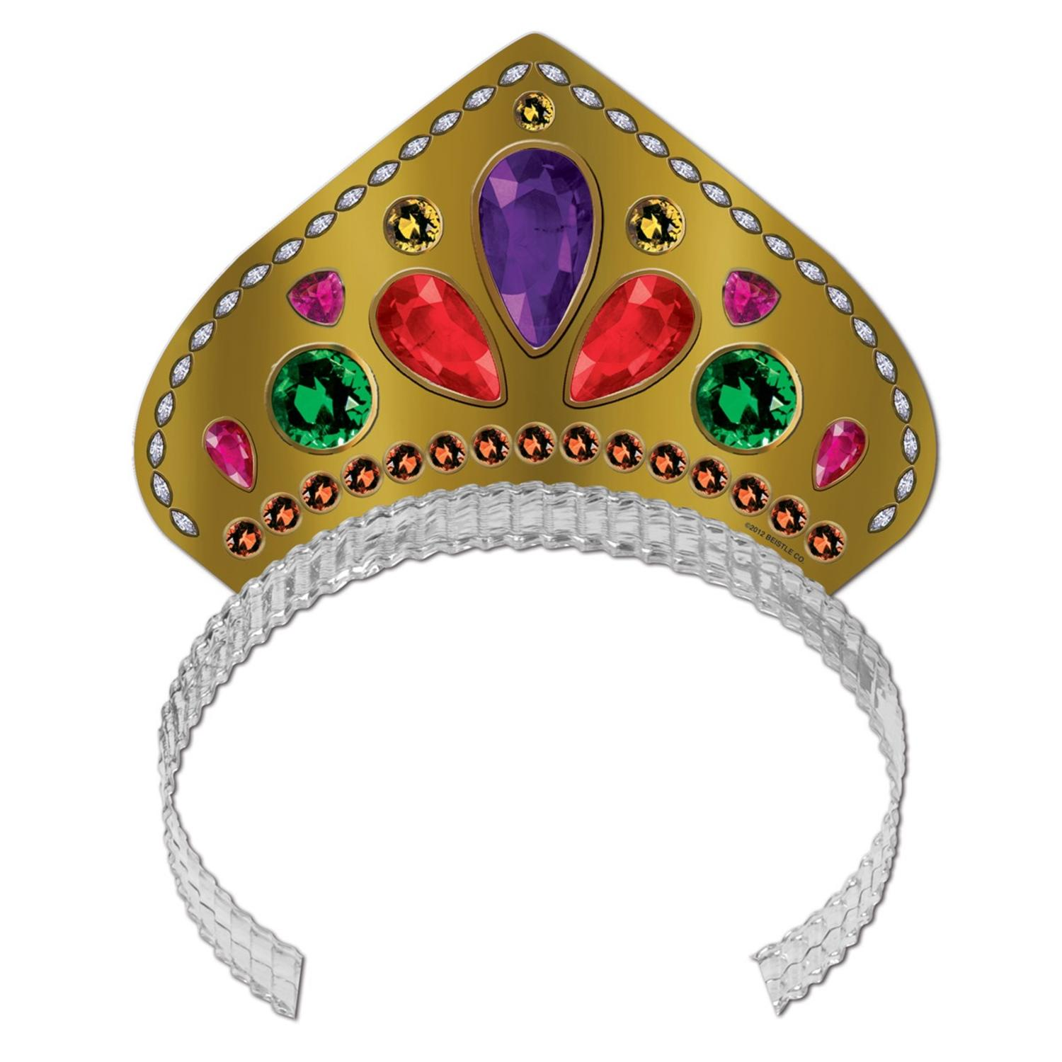 Club Pack of 72 Gold Printed Multi-Colored Jeweled Tiara Party Hats