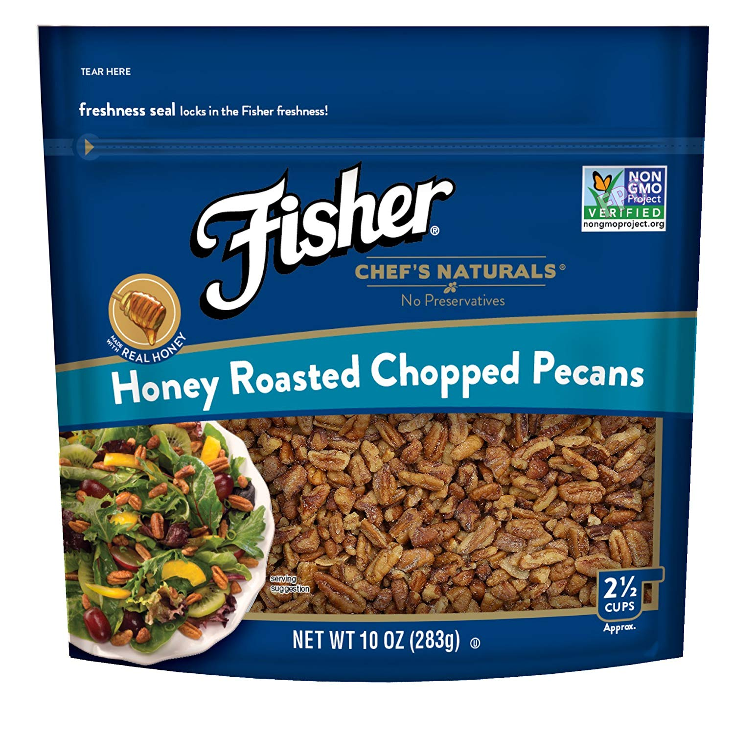 Fisher Honey Roasted Chopped Pecans, Non-GMO, No Preservatives, 10 oz