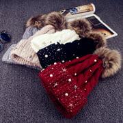 Fashion Women Lady Faux Fur Ball Winter Warm Crochet Knitted Hat Cap Beanie
