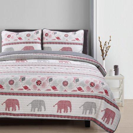 Paga Universal Linens Lauren Taylor - Elephant 3pc Microfiber Quilt Set King 3 Piece