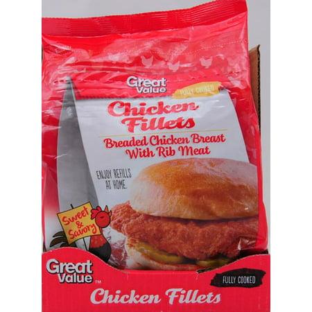 Great Value Breaded Chicken Fillets 24 Oz Walmart Com