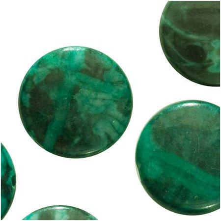 Jasper Disc - Green Jasper (Dyed) Focal Beads Disc 15mm (12)