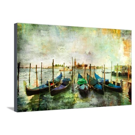 Gondolas - Beautiful Venetian Pictures - Oil Painting Style Stretched Canvas Print Wall Art By Maugli-l