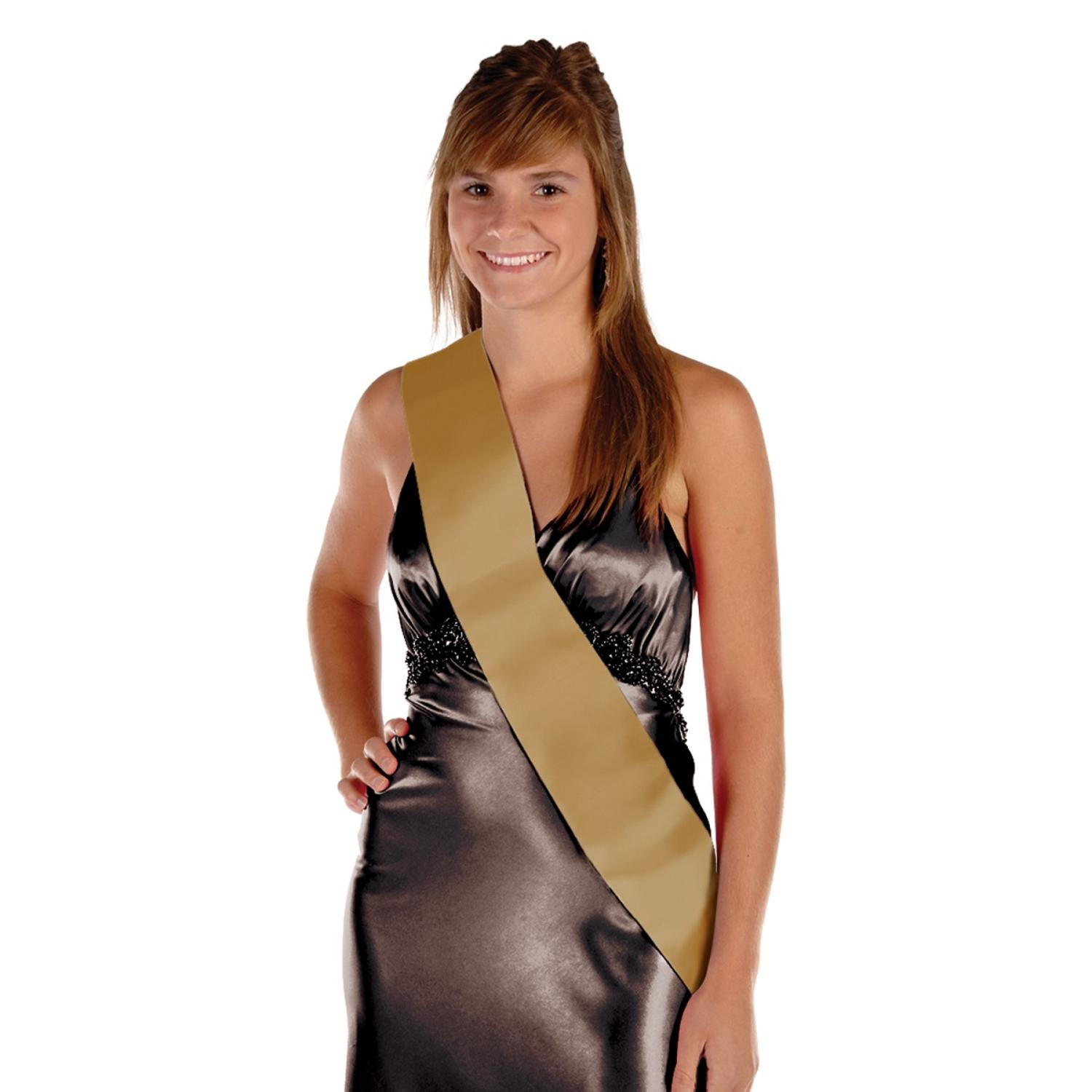 Pack of 6 Blank Customizable Gold Satin Sashes 33""