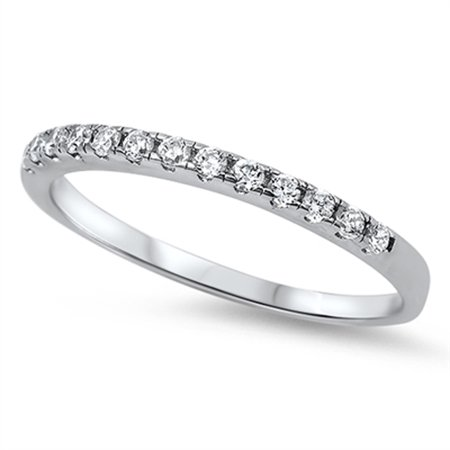 Stackable Cubic Zirconia Band - Wedding Band White CZ Classic Stackable Ring New .925 Sterling Silver Size 6