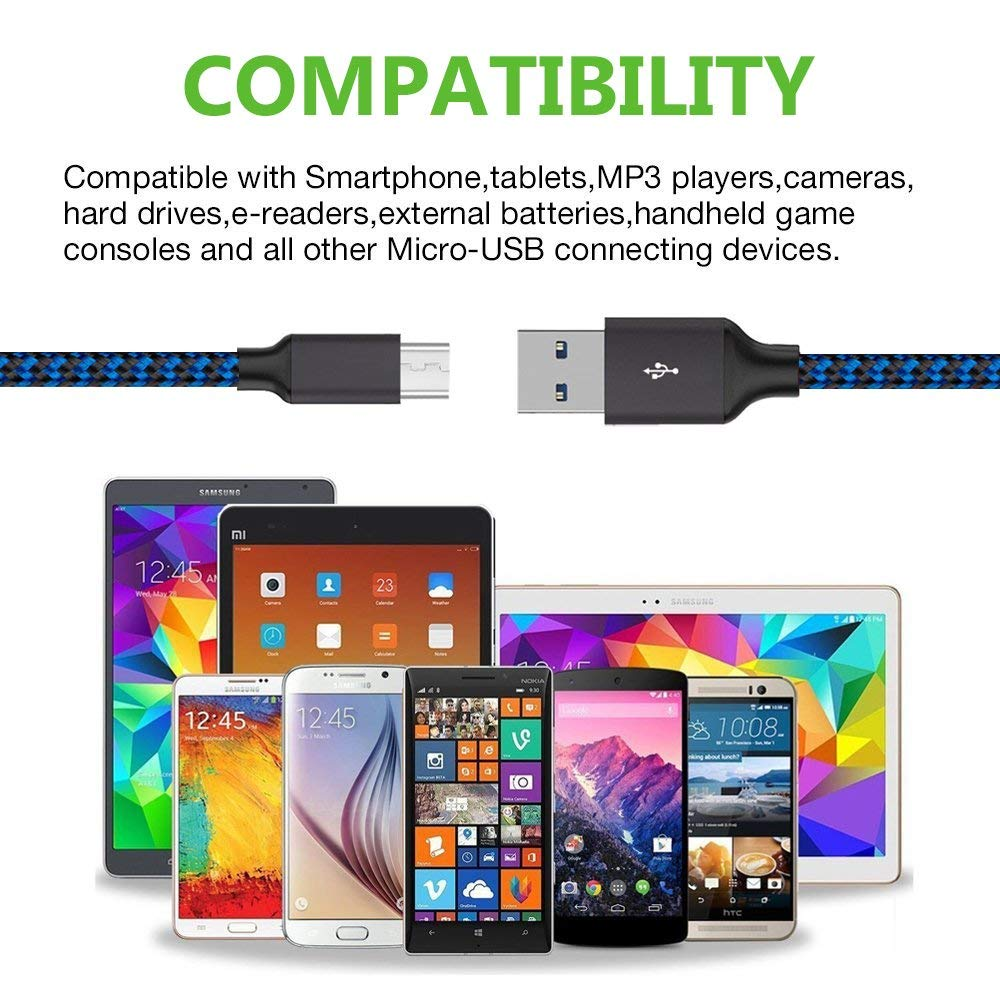 6ft 3 Pack Long Universal Micro USB Data Cord High Speed Sync and Long Charger Cord Wire for BLU Studio X8 HD Black Micro USB Cable by NEM