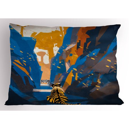 Fantasy Pillow Sham African Tiger in City Streets Narrow Walls Digital Wilderness Jungle Savannah, Decorative Standard Queen Size Printed Pillowcase, 30 X 20 Inches, Orange Blue, by (L Orange The City Under The City)
