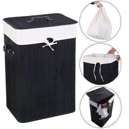 Black Laundry Pedestal - Costway Rectangle Bamboo Hamper Laundry Basket Washing Cloth Bin Rangier Lid Black