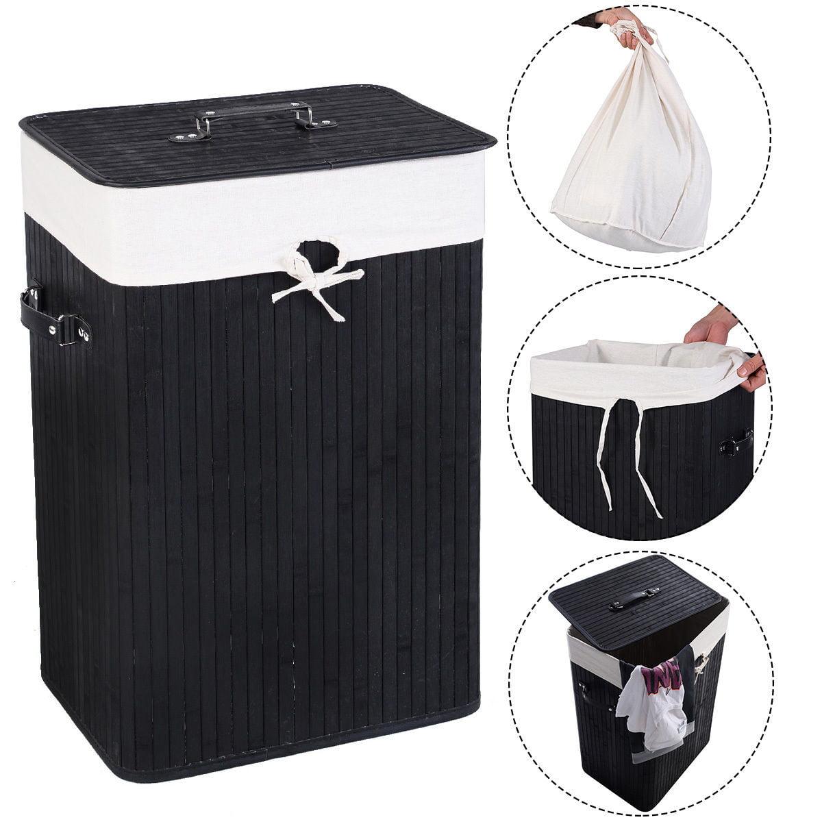 Costway Rectangle Bamboo Hamper Laundry Basket Washing Cloth Bin Rangier Lid Black