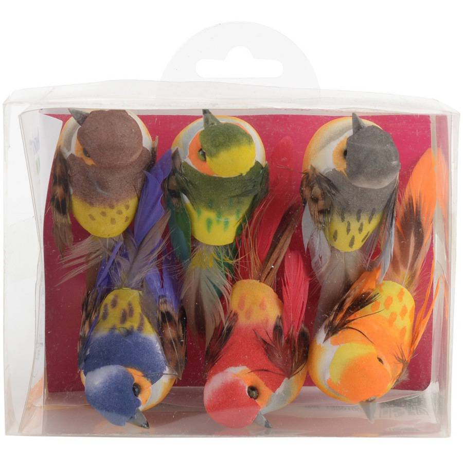 "Artemio Small Birds On Clip 3.2""X2"" 6/Pkg-Assorted Colors"