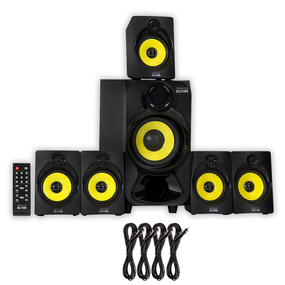 Theater Solutions TS518 Bluetooth Home Theater 5.1 Powered Speaker System with Subwoofer, Aux